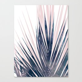 Contemporary Palm Leaf in Navy Blue and Blush Pink Canvas Print