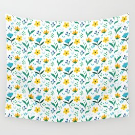 Summer flowers in yellow and blue in white background Wall Tapestry