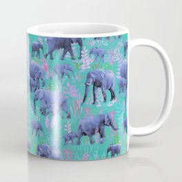 Sweet Elephants in Bright Teal, Pink and Purple Coffee Mug