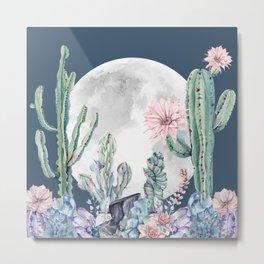 Desert Nights Gemstone Oasis Moon Navy Metal Print