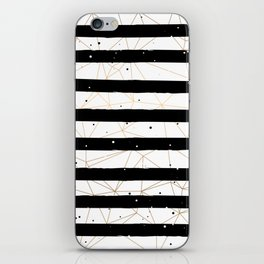 Vintage Black and White Stripes Gold Geometric Pattern iPhone Skin