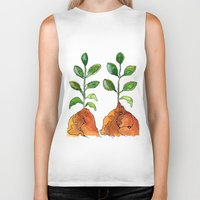 succulents Biker Tanks featuring Succulents by Gosia&Helena