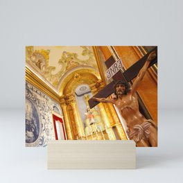 Jesus on the cross Mini Art Print