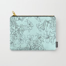 lily drawing in green background Carry-All Pouch