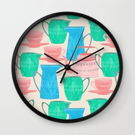 Jugs and Cups Pattern Wall Clock