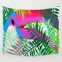 toucan Wall Tapestries featuring Toucan Lovers by Jess Batista