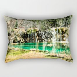 Natures Eternal Beauty // Long Exposure Waterfall and Teal Water Pond in the High Forest Rectangular Pillow
