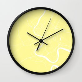Bangkok Thailand Minimal Street Map - Pastel Yellow and White II Wall Clock