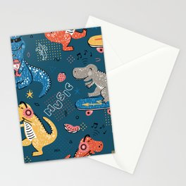 Cute dinosaurs love music seamless pattern Stationery Cards