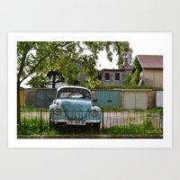 volkswagon Art Prints featuring Vintage Volkswagon by JessOli