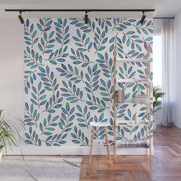 Blue Leaves Wall Mural
