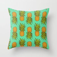 pineapples Throw Pillows featuring Pineapples by Stephanie Keir