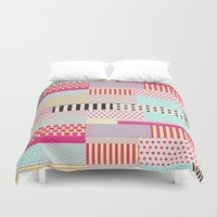 tape Duvet Covers featuring Decorative Tape by Louise Machado