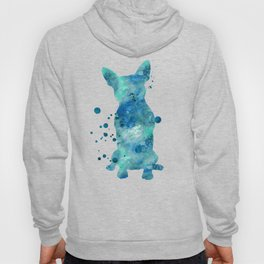 Boston Terrier Dog Watercolor Painting Blue Turquoise Aqua Mint Hoody
