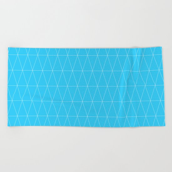 Simple Geometric Triangle Pattern- White on Teal - Mix & Match with Simplicity of life Beach Towel