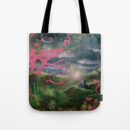 Pink Birds with Mythic Landscape Tote Bag