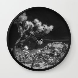 Joshua Trees and Boulders in Infrared Black and White at Joshua Tree National Park California Wall Clock