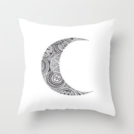 Crescent Mandala Moon 2 Throw Pillow