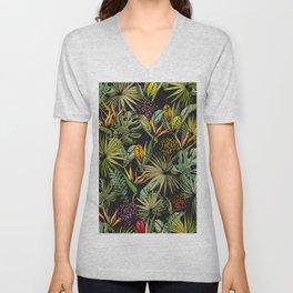 Tropical pattern on black Unisex V-Neck