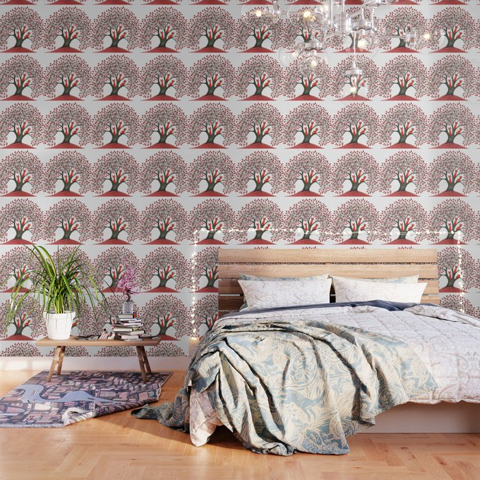 Red Oak Whimsical Cats in Tree Wallpaper