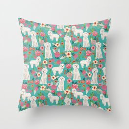 Cockapoo floral dog breed dog pattern pet friendly cocker spaniel poodle Throw Pillow