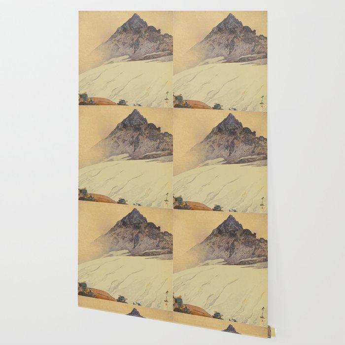 Yariga Mountain Hiroshi Yoshida Japanese Woodblock Print Wallpaper