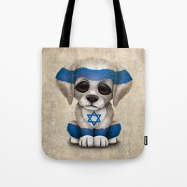 Cute Puppy Dog with flag of Israel Tote Bag