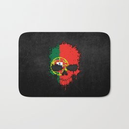 Flag of Portugal on a Chaotic Splatter Skull Bath Mat
