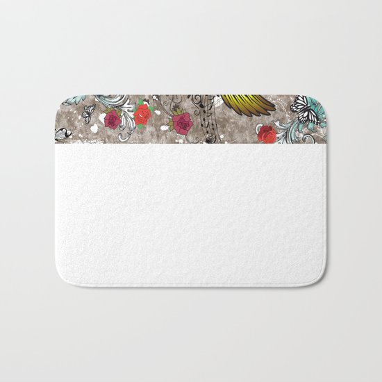 Butterfly with Roses Bath Mat