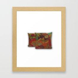 Handmade Designer Floral Kantha Pillow Cover Framed Art Print