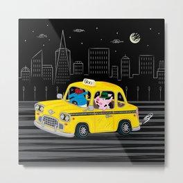 Taxi Ride Metal Print