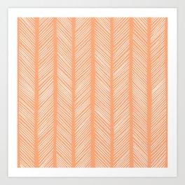 Cantaloupe Herringbone 2 Art Print