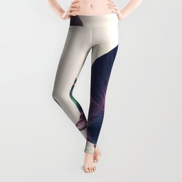 Pink and Green Iridescent Leaves Leggings