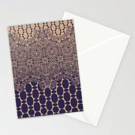 floral border with geo mix monochrome Stationery Cards