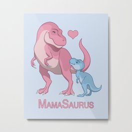 MamaSaurus T-Rex & Baby Boy Dinosaurs Metal Print