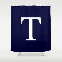Navy Blue Basic Monogram T Shower Curtain