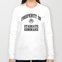 stargate Long Sleeve T-shirts featuring Property of Stargate Command Athletic Wear Black ink by RockatemanDesigns