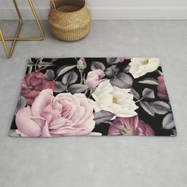 Pinky purple Medley of Roses, Peony and Leaves Rug