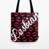 lesbian Tote Bags featuring LIPSTICK LESBIAN by SLANTEDmind.com