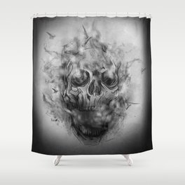 Flaming Skull Shower Curtain