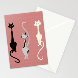 Midcentury Modern Sleek And Stylish Parisian Kitty Cat Trio Stationery Cards