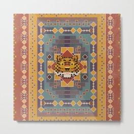 Boho Graphic Moroccan Oriental Modern Pattern Art Design - 3 Tiger Metal Print
