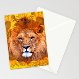 YELLOW TAWNY AFRICAN LION & GOLDEN SUNFLOWERS Stationery Cards