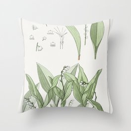 Muguet (lily of the valley) from La Plante et ses Applications ornementales (1896) illustrated by Ma Throw Pillow