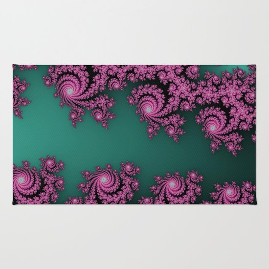Fractal in Dark Pink and Green Rug