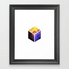 Nebula Cube - White Framed Art Print