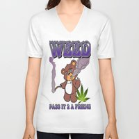 cannabis V-neck T-shirts featuring TIMOTHY THE CANNABIS BEAR  by Timmy Ghee CBP