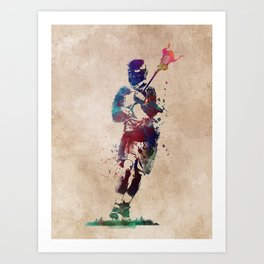 Lacrosse player art 2 Art Print