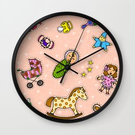 For Mommy pattern Wall Clock