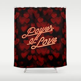 Inspirational love quotes retro neon sign, Valentine's red black hearts bokeh pattern Shower Curtain